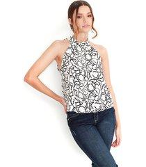 blusa estampado, cuello tipo tortuga, manga sisa color-multicolor-talla-xxs