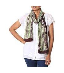 cotton batik scarf, 'leafy wonder' (india)