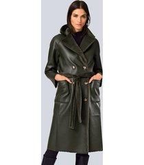 keerbare mantel alba moda donkergroen