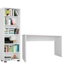 conjunto escritã³rio 2 peã§as mesa gã¡vea e estante office branco - mã³veis leã£o - branco - dafiti
