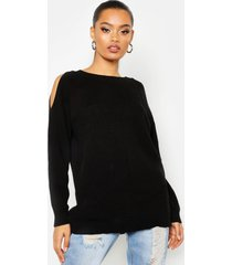 cold shoulder moss stitch sweater, black