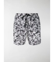 fendi geometric print swim shorts