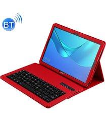 teclado bluetooth desmontable + litchi texture horizontal flip funda de cuero para huawei mediapad m5 10,8 pulgadas, con el titular (rojo)