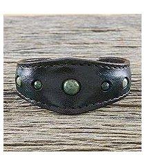 agate cuff bracelet, 'green moss power' (thailand)