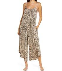 women's socialite lounge crop jumpsuit, size x-small - brown