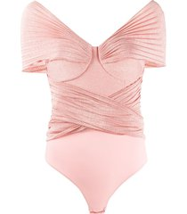 elisabetta franchi pleated shimmer bodysuit - pink