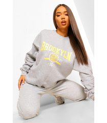 gebleekte oversized brooklyn sweater met tekst, grey marl