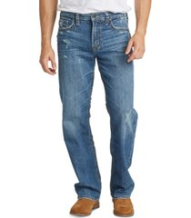 silver jeans co. men's gordie loose-straight fit stretch destroyed jeans