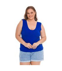 regata basica plus size lisa royal