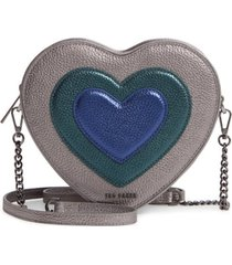 ted baker london serera metallic heart leather shoulder bag -