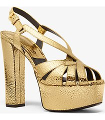 mk sandalo con plateau candace in pelle craquelé metallizzata - oro (oro) - michael kors