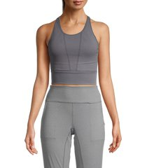 nine west women's mesh overlay copped tank - stormy grey - size l