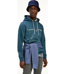 tommy hilfiger men's organic cotton classic logo hoodie mystic lake - s