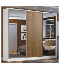 guarda roupa casal 100% mdf madesa zurique 3 portas de correr com espelhos - branco/rustic branco