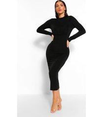 bodycon midaxi jurk met hoge kraag, zwart