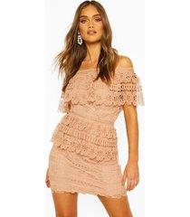 boohoo mini-jurk met kant en blote schouders, abrikoos
