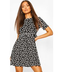 gesmokte bloemenprint jurk, zwart