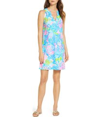 women's lilly pulitzer ross shift dress, size x-large - blue/green