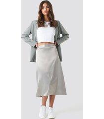 na-kd party bias cut satin midi skirt - grey,silver