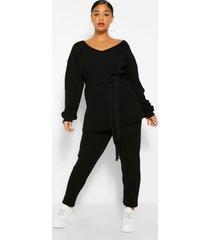 plus side split knit sweater & jogger set, black