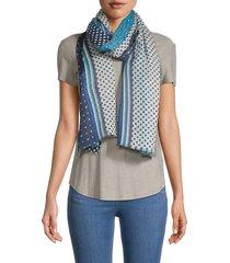 saachi women's mixed-print wool scarf - navy