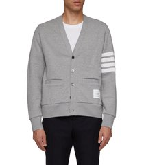 stripe sleeve french terry cardigan