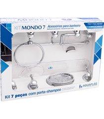 kit de acessórios para banheiro mondo com 7 peças cristal