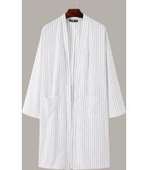 chaqueta informal de manga larga a rayas para hombre