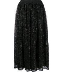 ermanno ermanno mesh sequin panel midi skirt - black