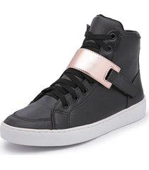 sapatênis feminino cano alto top franca shoes preto / dourado