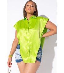 akira plus statement ready button front blouse
