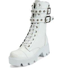 botas casuales de moda caña media suela plana gruesa  tendencia y moda 2020 anuwa ivanna white