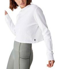 cotton on women's cross back waffle long sleeve top