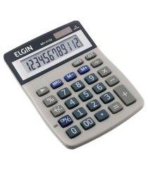 calculadora de mesa elgin mv4122 com célula 12 dígitos solar cinza