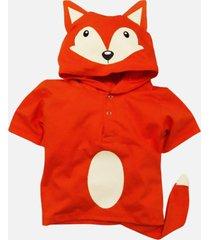 camiseta fantasia raposa - 1 até 6 anos