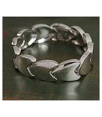 sterling silver link bracelet, 'tulip style' (mexico)