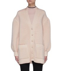 quilted balloon sleeve cardigan