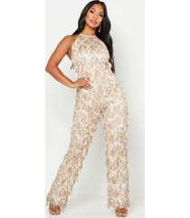all over sequin low back jumpsuit, gold