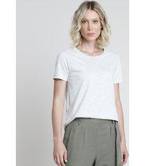 blusa feminina básica manga curta decote redondo cinza mescla claro