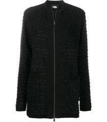 karl lagerfeld tweed boucle cardigan - black