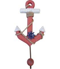 cabideiro kasa ideia de madeira âncora vermelha 33x17cm