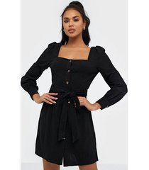 glamorous long sleeve linen button dress fodralklänningar