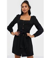 glamorous long sleeve linen button dress fodralklänningar
