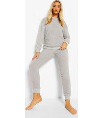 fleece teddy pyjama set, grey