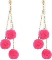 aretes largos pompones rosa  ar-11039
