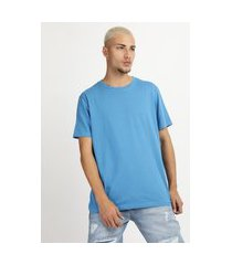 camiseta masculina manga curta básica gola careca azul