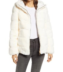 women's via spiga hooded faux fur coat, size x-large - ivory