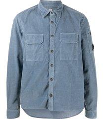c.p. company flap-pocket corduroy shirt - blue