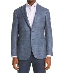 men's canali kei d7 check sport coat, size 48 us - blue