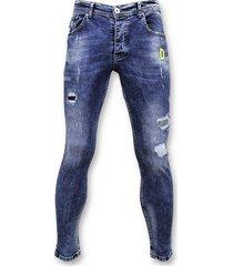 skinny jeans true rise spijkerbroek verfspatten skinny fit